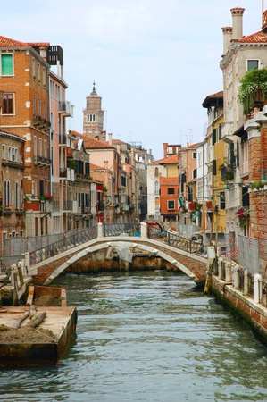 clock of the moors: Quiet Side Canal in Venice Italy