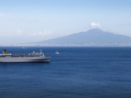 Mount Vesuvius and the Bay of Naples in Campania Italy photo