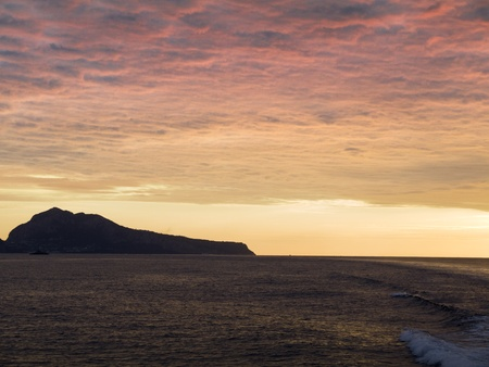 Setting sun over the Bay of Naples in Italy Stock Photo - 11347445