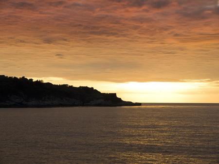 marqueteria: Puesta de sol sobre la bahía de Nápoles en Italia