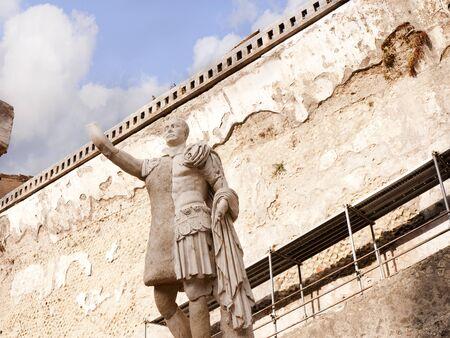 Statue of Roman Emperor Baldo in Herculaneum Italy photo