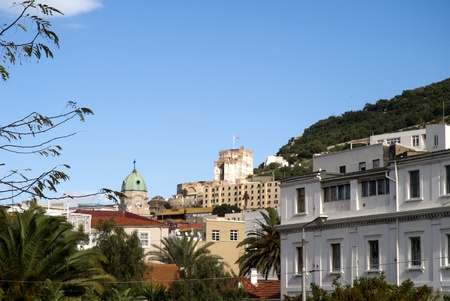 view over town of Gibraltar from harbour Walls photo