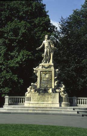 mozart: Statue to Wolfgang Amadeus Mozart in Vienna Austria Stock Photo
