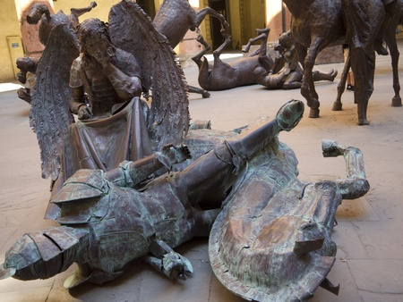 university fountain: Metal Sculptures in Town Hall of Bologna in Italy