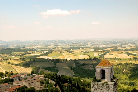 View from top of Medieval Tower in San Gimignano Tuscany Italy photo