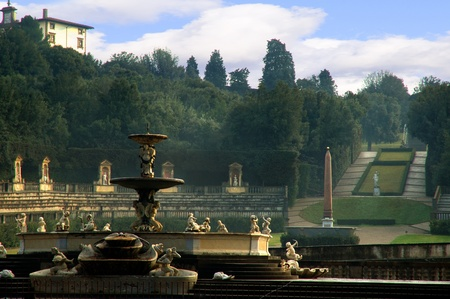 florence: View from Pitti Palace of the Boboli Gardens with Urns in Florence Italy