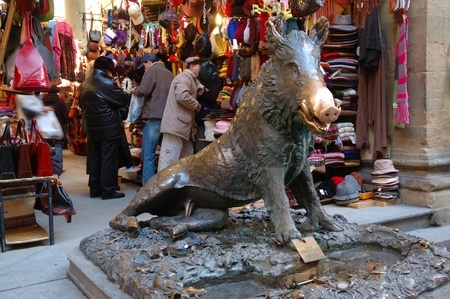 Bronze Boar Fountain in Market in Florence Italy Stock Photo