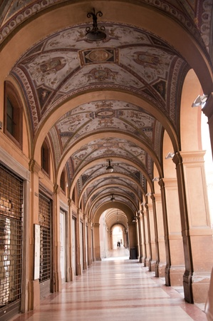 Colonnade with Painted ceiling in the Beautiful City of Bologna Italy