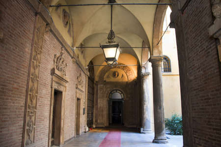 university fountain: Colonnade in the Beautiful City of Bologna Italy