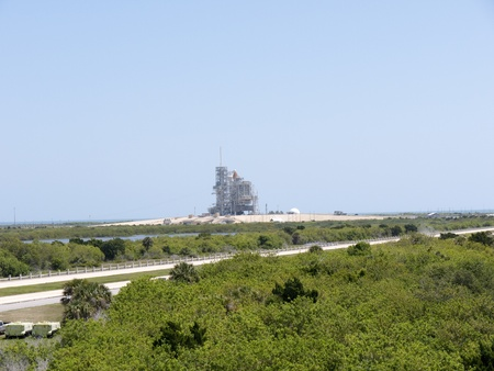 cape canaveral: Atlantis Shuttle on Launch pad at Cape Canaveral Florida USA Stock Photo