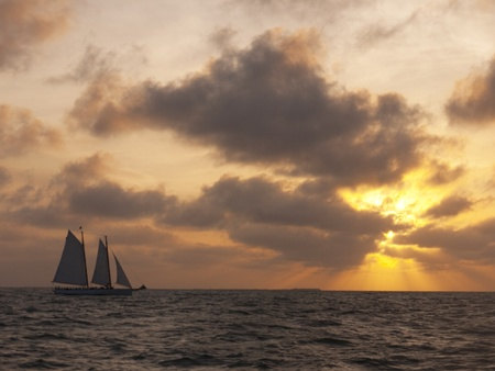 north american butterflies: Sailing in sunset off Key West Florida USA Stock Photo