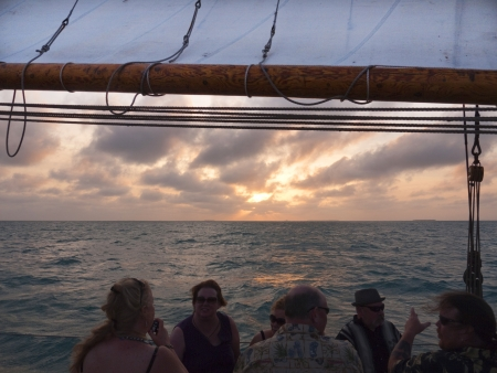 Sailing in sunset off Key West Florida USA
