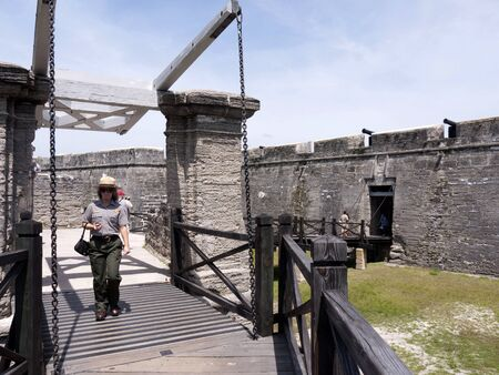 drawbridge: Castello San Marco Fortress in St Augustine Florida USA