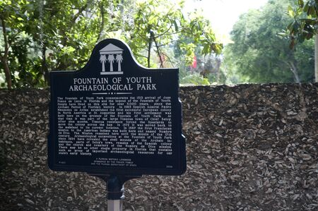 Fountain of Youth sign in St. Augustine a city in the northeast section of Florida, United States.