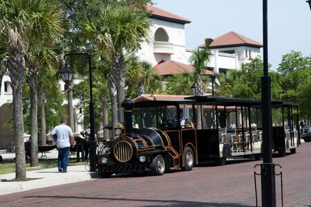 Tourist trolley in St. Augustine is a city in the northeast section of Florida, United States.