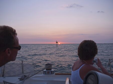 Sunset sailing on yacht from St Pete Beach near St Petersburg Florida USA