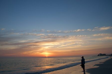 St Petes Beach in de ondergaande zon in Florida USA Stockfoto