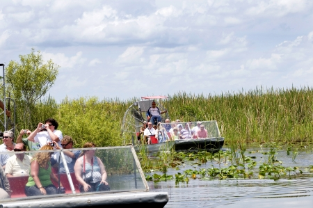 Airboat in the Everglades  in the Southern State of Florida in the USA