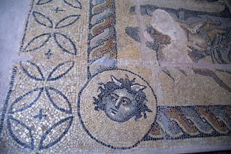 Roman Mosaic in Chania on the Island of Crete in Greece
