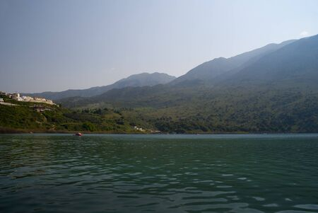 Kournas Lake the largest freshwater lake in Crete Greece photo