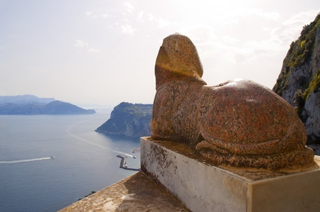 san michele: Ancient Sphinx overlooks the bay of Naples from the Island of Capri Italy Stock Photo