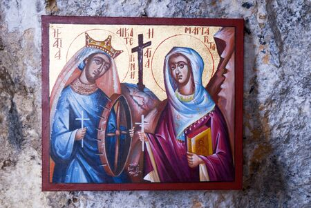 Icon at Small Greek Orthodox Chapel at Rethymno Crete Greece Stock Photo - 14543725