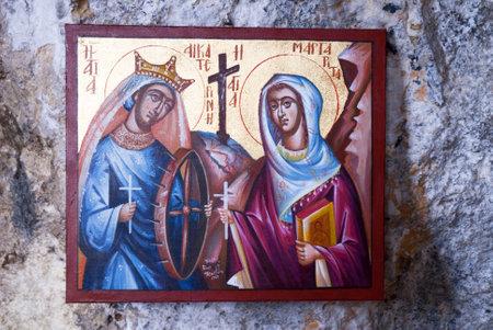 Icon at Small Greek Orthodox Chapel at Rethymno Crete Greece Stock Photo - 14543725
