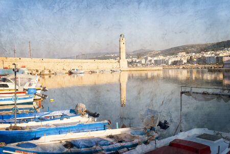 The Venetian harbour at Rethymno on the Isle of Crete Greece Editorial