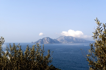 View of the Isle of Capri from the Sorrento Mainland Italy photo