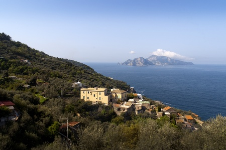 sant agata: View of the Isle of Capri from the Sorrento Mainland Italy