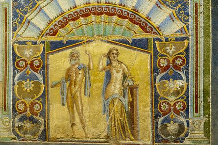 Mosaic of Neptune and Amphifrite in the Buried Roman City of Herculaneum near Naples in Southern Italy