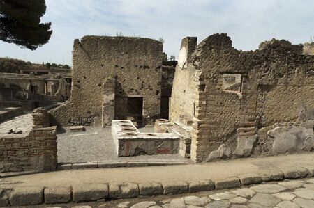 Wine shop in the Buried Roman City of Herculaneum near Naples in Southern Italy