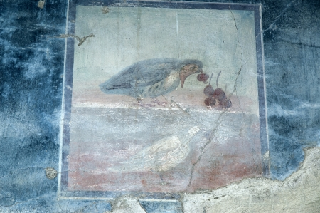 Small fresco in the Buried Roman City of Herculaneum near Naples in Southern Italy