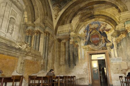 marquetry: 14th century Sedile Dominova in Sorrento Italy Editorial
