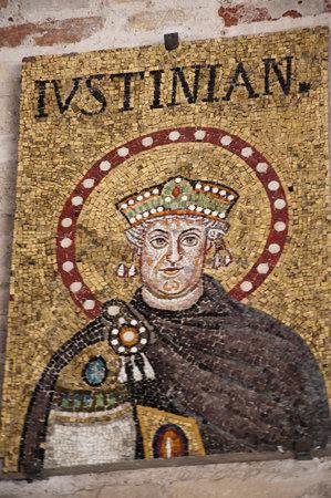 10th century mosaics of Emperor Justinian in Ravenna Italy Editorial