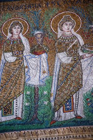 ravenna: 10th century mosaics of the wise virgins in Ravenna Italy