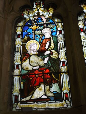 Stained glass windows in St Peters Parish Church in Burnley Lancashire Stock Photo - 14543961