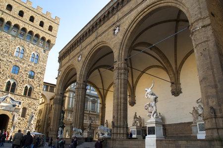 The Loggia in the Piazza della Signoria in Florence Tuscany Italy