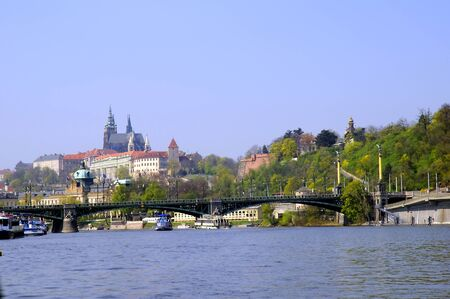 Prague Castle from the River Vltava Prague Czech Republic photo