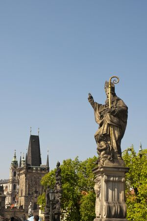 Statue on the Charles Bridge in Prague in the Czech Republic
