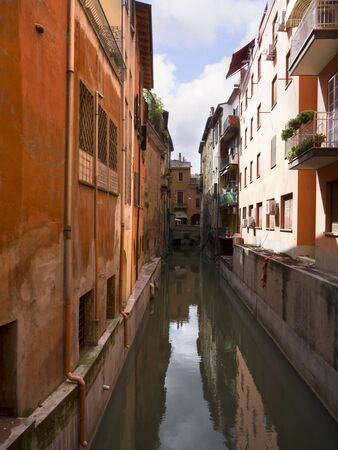 Narrow Canal in the Beautiful City of Bologna Italy Stock Photo - 14544155