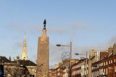 Monument ot Charles Parnell on Oconnell Street in Dublin City  Ireland