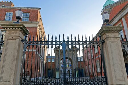 the Gates of Dublin Castle in Dublin City Ireland