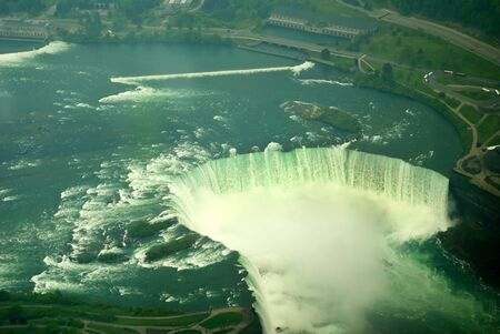 Niagara Horseshoe Falls in Canada from a Helicopter photo
