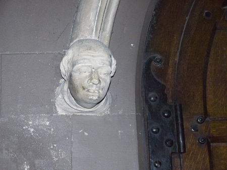 Stone Head in St Patricks Anglican Cathedral in Dublin Ireland