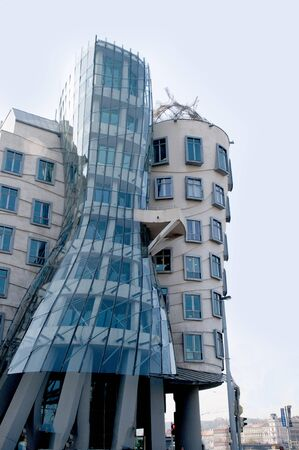 The building nicknamed the Fred and Ginger Building as it appears to be dancing together in Prague Czech Republic Europe