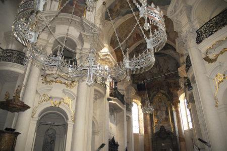 Baroque interior of St Nicolas Church in Prague, Czech Republic Europe
