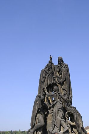 Statue on the Charles Bridge in Prague in the Czech Republic photo