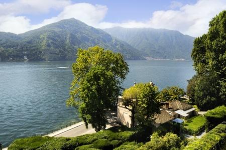 como: Beautiful Garden on Lake Como Italy Stock Photo