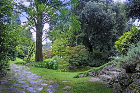 Beautiful Garden on Lake Como Italy photo